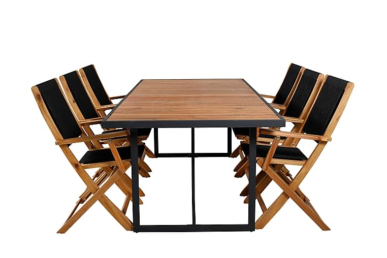 Kingel Spisegruppe 200 cm + 6 Penny Klappstoler - Svart / Akasie - Hagemøbler - Spisegrupper hage - Komplette spisegrupper