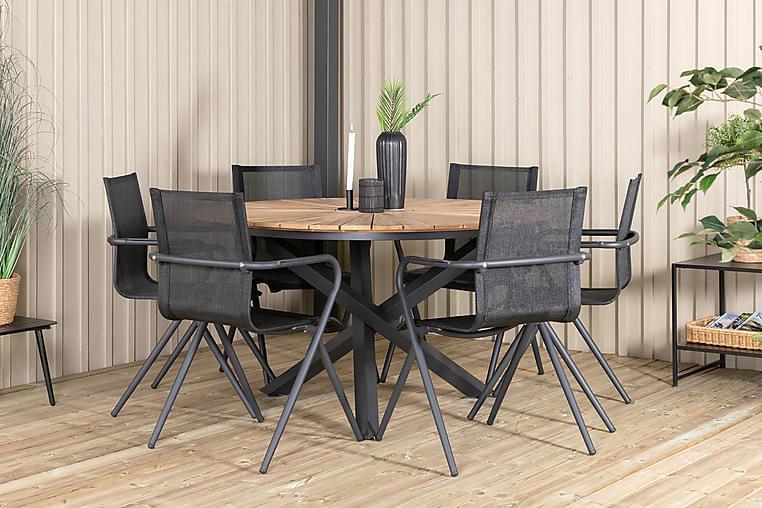 Mexico Spisegruppe 150 cm + 6 Alling Stoler - Svart / Teak - Hagemøbler - Spisegrupper hage - Komplette spisegrupper