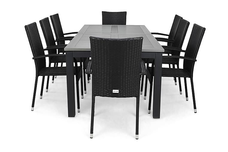 Monaco Spisegruppe 220-280+8 Thor Light Stoler - Svart - Hagemøbler - Spisegrupper hage - Komplette spisegrupper