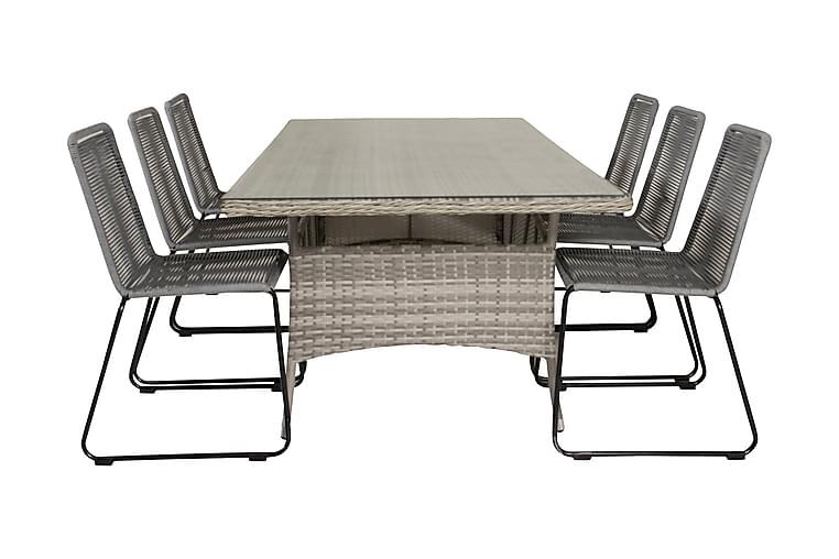Mopane Spisegruppe + 6 Hoganas Spisestoler - Glass/Grå - Hagemøbler - Spisegrupper hage - Komplette spisegrupper