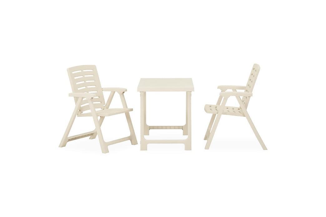 Sammenleggbart bistrosett 3 deler plast hvit - Hvit - Hagemøbler - Spisegrupper hage - Komplette spisegrupper