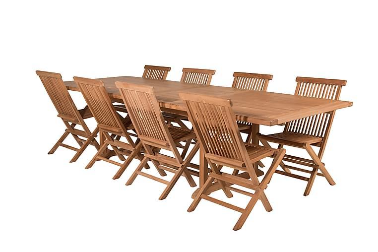 Simba Spisegruppe + 8 Spisestoler - Natur - Hagemøbler - Spisegrupper hage - Komplette spisegrupper