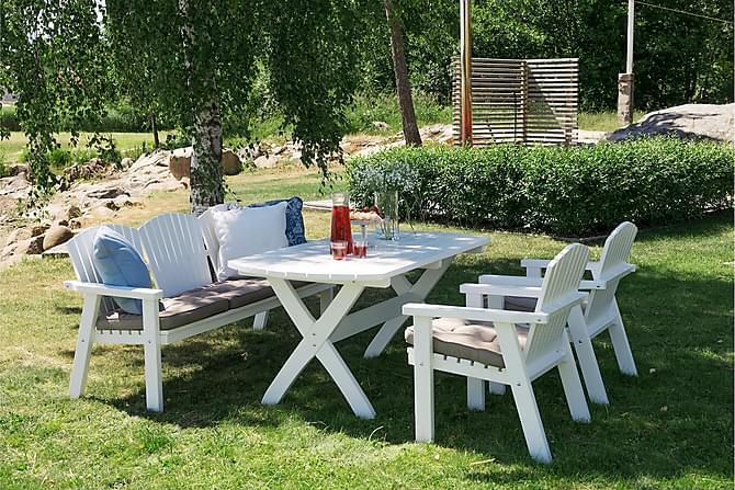 SOLVIK 3-SETER SOFA HVIT - Hvitlakkert furu - Hagemøbler - Spisegrupper hage - Komplette spisegrupper