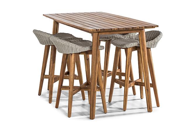 Tamarin Barbord 80x150 + 4 Stoler - Akasie/Hvit - Hagemøbler - Spisegrupper hage - Komplette spisegrupper
