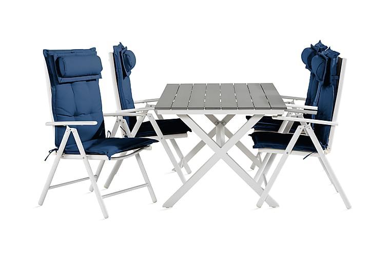 Tunis Spisegruppe 150 cm + 4 Maggie Posisjonsstoler m Pute - Svart/Blå/Hvit/Grå - Hagemøbler - Spisegrupper hage - Komplette spisegrupper