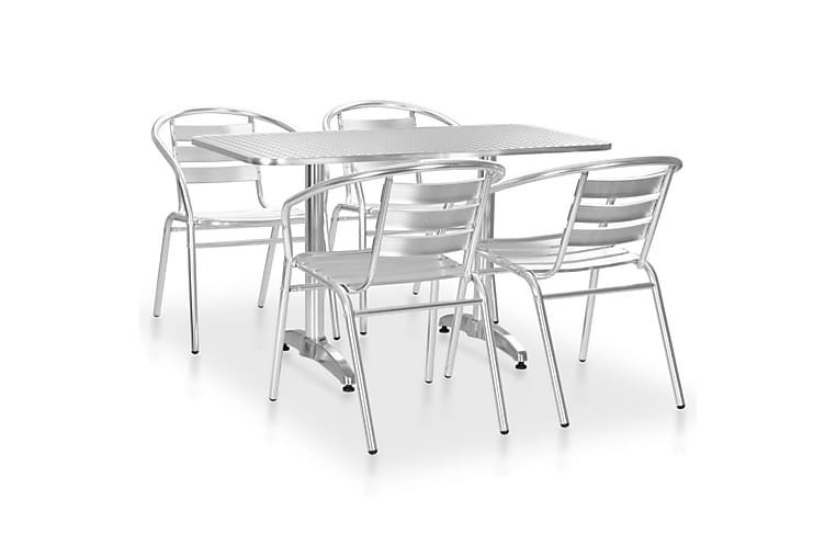 Utendørs spisestue 5 deler aluminium sølv - Hagemøbler - Spisegrupper hage - Komplette spisegrupper
