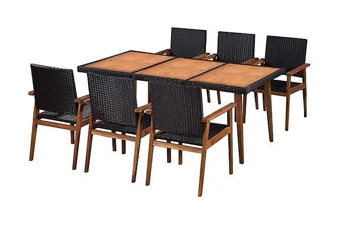 Quines Spisegruppe 180x90 + 6 Karmstoler - Akasie/Svart - Hagemøbler - Spisegrupper hage - Komplette spisegrupper