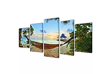 Kanvas Flerdelt Veggdekorasjon Strand med Hengekøye 100x50 c