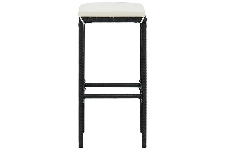 Barkrakker med seteputer 4 stk svart polyrotting - Svart - Hagemøbler - Stoler & Lenestoler - Barstol