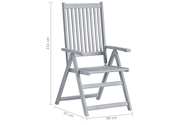 Hagelenestol 2 stk grå heltre akasie - Hagemøbler - Stoler & Lenestoler - Spisestoler