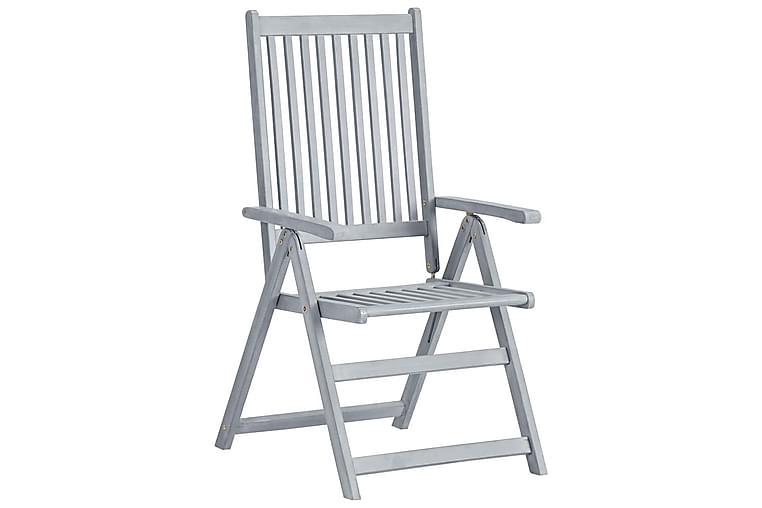 Hagelenestoler 8 stk grå heltre akasie - Grå - Hagemøbler - Stoler & Lenestoler - Spisestoler