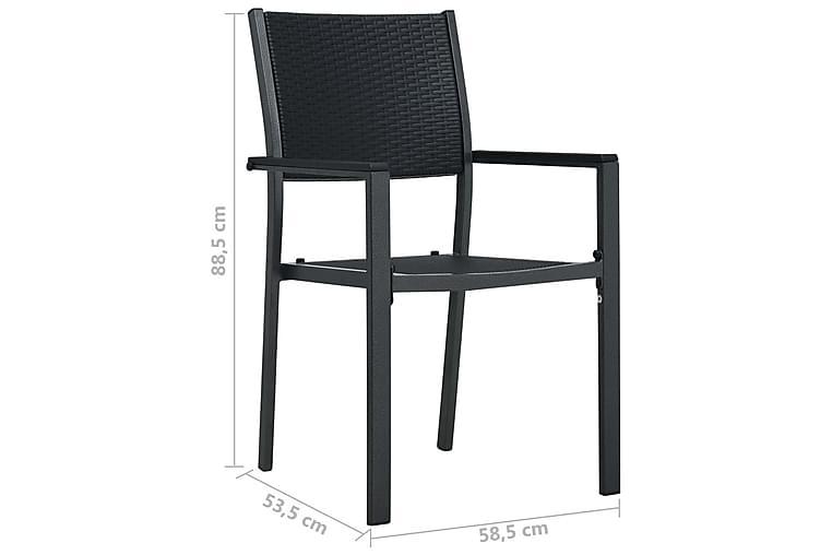 Hagestoler 2 stk svart plast rottingutseende - Hagemøbler - Stoler & Lenestoler - Spisestoler