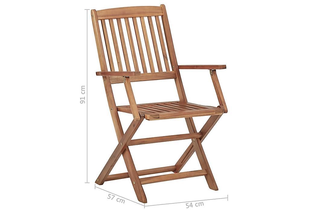 Klappstoler 2 stk heltre akasie - Brun - Hagemøbler - Stoler & Lenestoler - Spisestoler