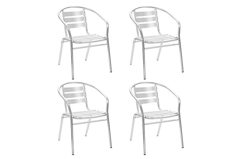 Stablestoler 4 stk aluminium - Hagemøbler - Stoler & Lenestoler - Spisestoler