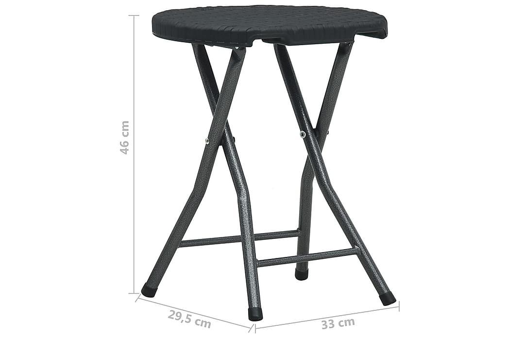 Foldbare hagekrakker 4 stk svart HDPE rottingstil - Hagemøbler - Stoler & Lenestoler - Posisjonsstoler