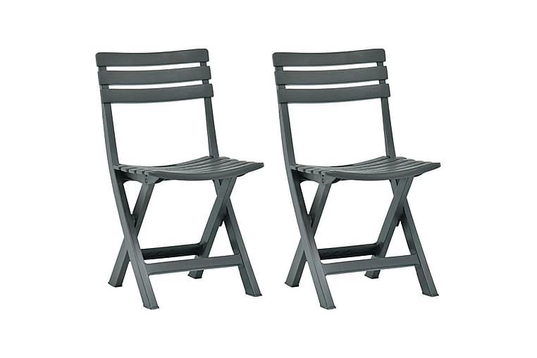 Foldbare hagestoler 2 stk plast grønn - Hagemøbler - Stoler & Lenestoler - Posisjonsstoler