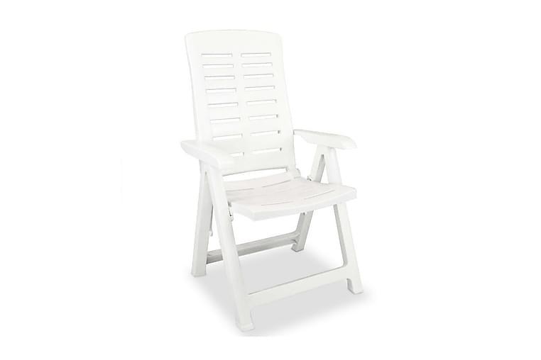 Hagelenestoler 4 stk plast hvit - Hvit - Hagemøbler - Stoler & Lenestoler - Posisjonsstoler