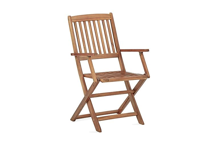 Klappstoler 4 stk heltre akasie - Brun - Hagemøbler - Stoler & Lenestoler - Posisjonsstoler