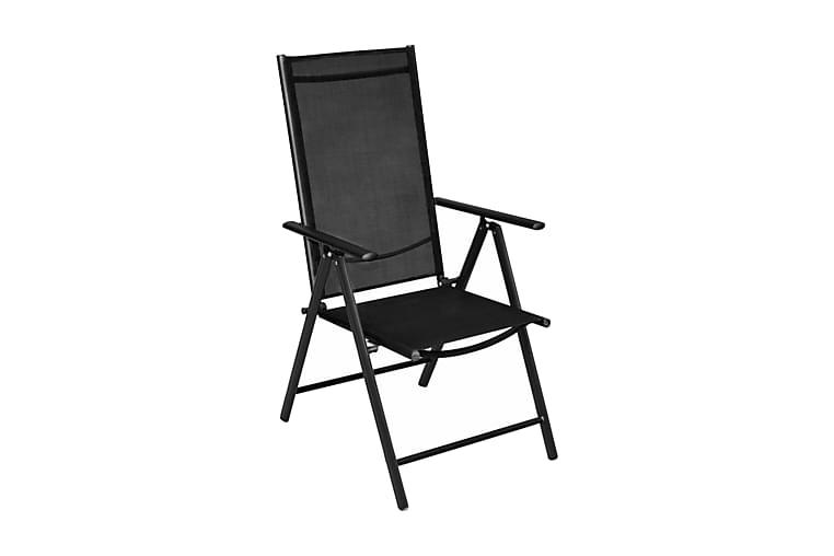 Sammenleggbare hagestoler 4 stk aluminium og textilene svart - Svart - Hagemøbler - Stoler & Lenestoler - Posisjonsstoler