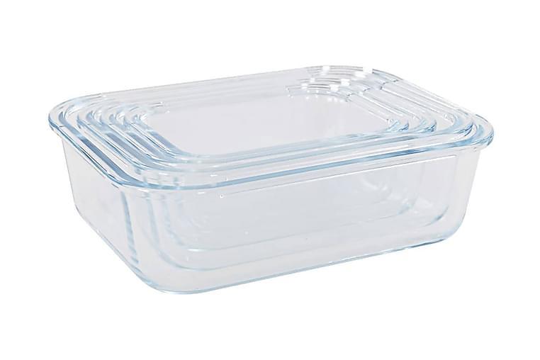 Matbeholder glass 4 stk - Gjennomsiktig - Hagemøbler - Stoler & Lenestoler - Solsenger & solvogner
