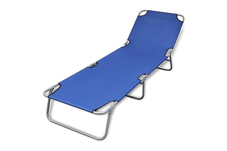 Sammenleggbar solseng pulverlakkert stål blå - Blå - Hagemøbler - Stoler & Lenestoler - Solsenger & solvogner