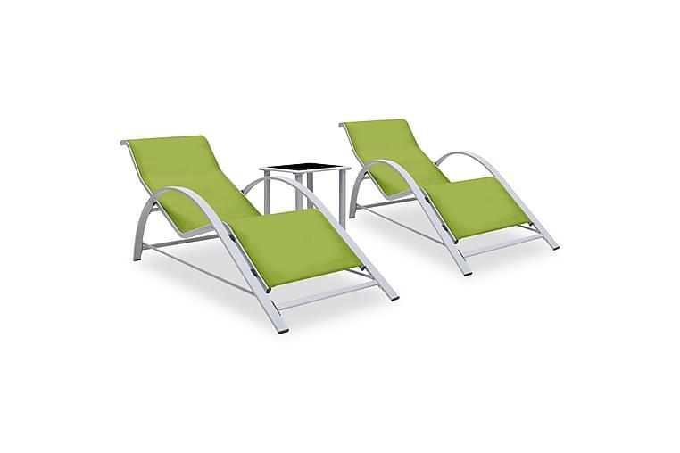 Solsenger 2 stk med bord aluminium grønn - grønn - Hagemøbler - Stoler & Lenestoler - Solsenger & solvogner