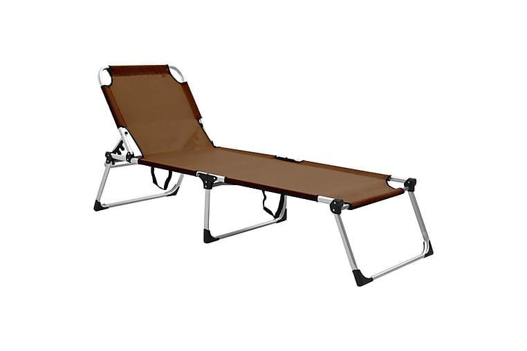 Ekstra høy solseng senior sammenleggbar brun aluminium - Hagemøbler - Stoler & Lenestoler - Solstoler