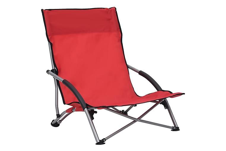Sammenleggbare strandstoler 2 stk röd stoff - Röd - Hagemøbler - Stoler & Lenestoler - Strandstoler & campingstoler