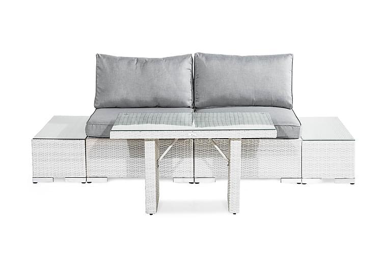 Bahamas Loungegruppe 2-seter - Hvit Bord Avslutning - Hagemøbler - Loungemøbler - Loungegrupper
