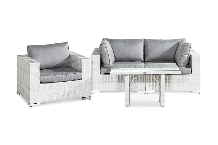 Bahamas Loungegruppe 3-seter - Hvit Bord Lenestol - Hagemøbler - Loungemøbler - Loungegrupper
