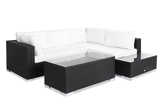 Bahamas Loungegruppe 4 Pers Bord - Avslutning Svart - Hagemøbler - Loungemøbler - Loungegrupper