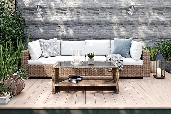 Bahamas Loungegruppe 4-seter Bord m Hylle - Sand - Hagemøbler - Loungemøbler - Loungegrupper