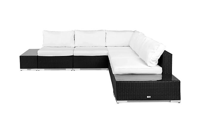 Bahamas Loungegruppe 5 Pers 2 Avslutninger - Svart - Hagemøbler - Loungemøbler - Loungesofaer