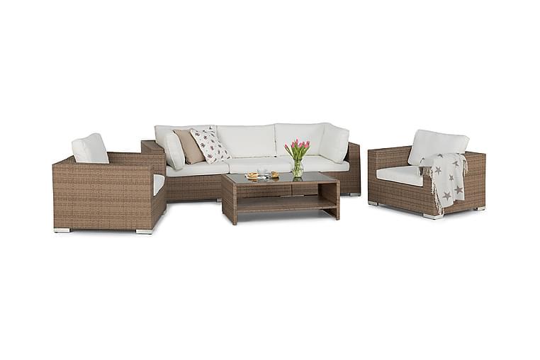 Bahamas Loungegruppe 5-seter 1 Bord m Hylle - 2 Lenestoler Sand - Hagemøbler - Loungemøbler - Loungegrupper