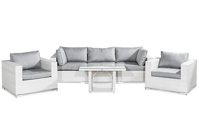 Bahamas Loungegruppe 5-seter - Hvit Bord 2 Lenestoler - Hagemøbler - Loungemøbler - Loungegrupper