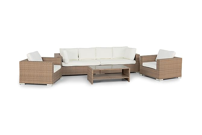 BAHAMAS LOUNGEGRUPPE 6 PERS 1 BORD M HYLLE - 2 LENESTOLER SAND - Hagemøbler - Loungemøbler - Loungegrupper