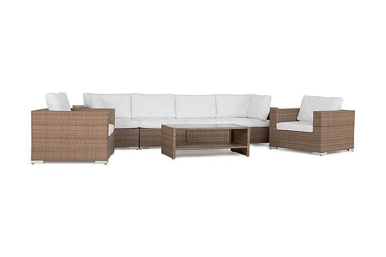 Bahamas Loungegruppe 6-seter 1 Bord m Hylle - 2 Lenestoler Sand - Hagemøbler - Loungemøbler - Loungegrupper