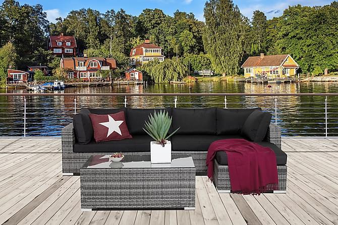 Bahamas Loungegruppe 6-seter Bord - Divan/Bord Grå - Hagemøbler - Loungemøbler - Loungegrupper