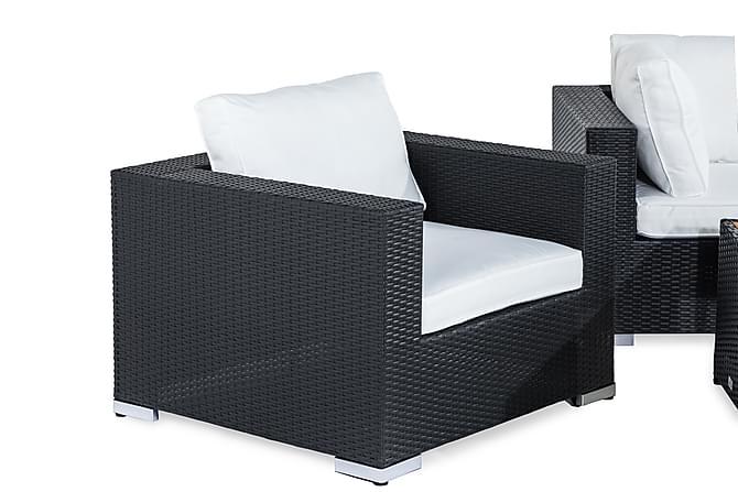 Bahamas Loungegruppe 6-seter - Svart/Akasie Bord 2 Lenestoler - Hagemøbler - Loungemøbler - Loungegrupper