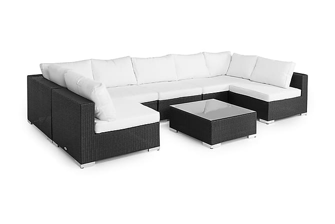 Bahamas Loungegruppe 8 Pers Divan/Bord - Svart - Hagemøbler - Loungemøbler - Loungegrupper