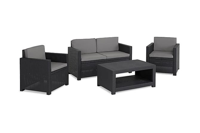 Castell Sofagruppe - Svart - Hagemøbler - Loungemøbler - Loungegrupper
