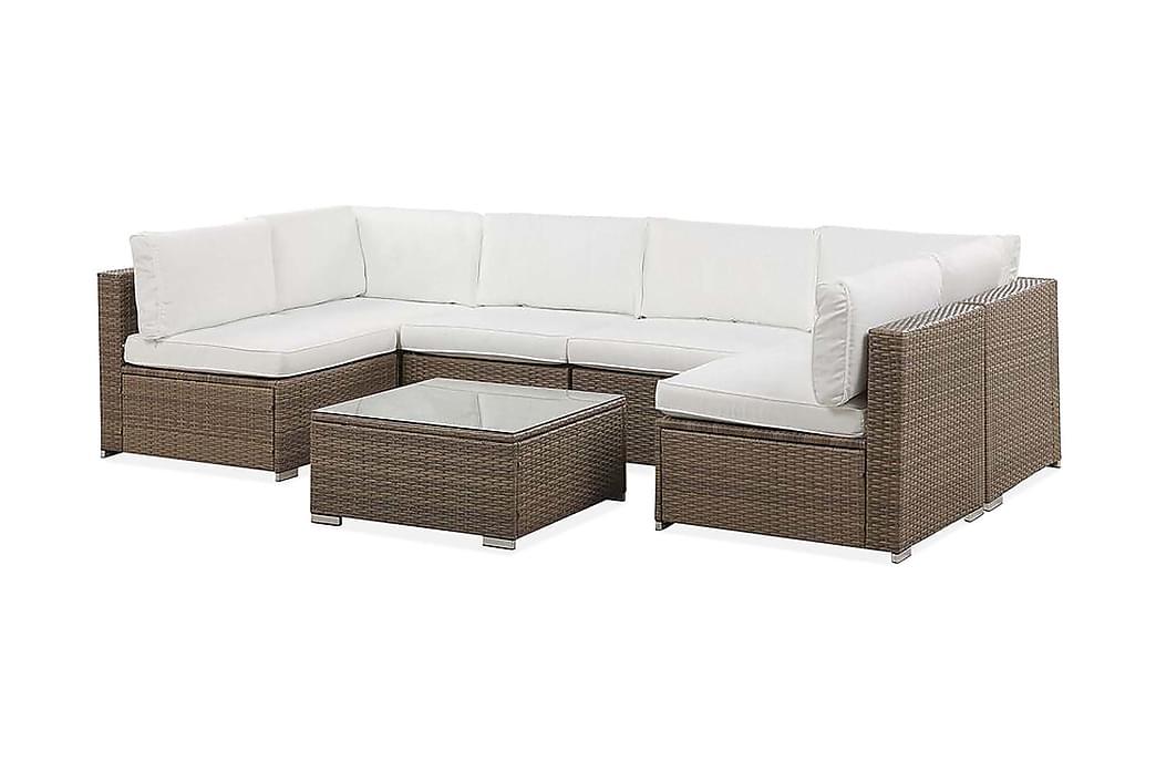 Cusinati 6-seter Loungegruppe - Hvit/Kunstrotting - Hagemøbler - Loungemøbler - Loungegrupper