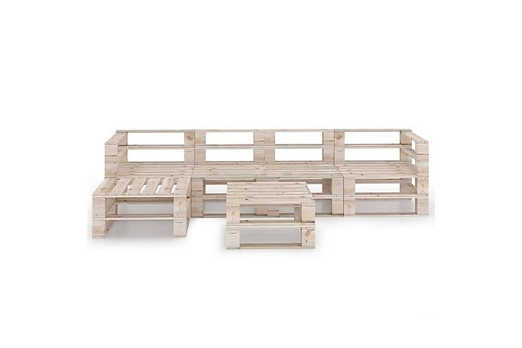 Hagemøbelsett 6 deler paller furu - Hagemøbler - Loungemøbler - Loungegrupper