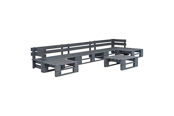 Hagemøbelsett 6 stk paller FSC tre grå - Grå - Hagemøbler - Loungemøbler - Loungegrupper