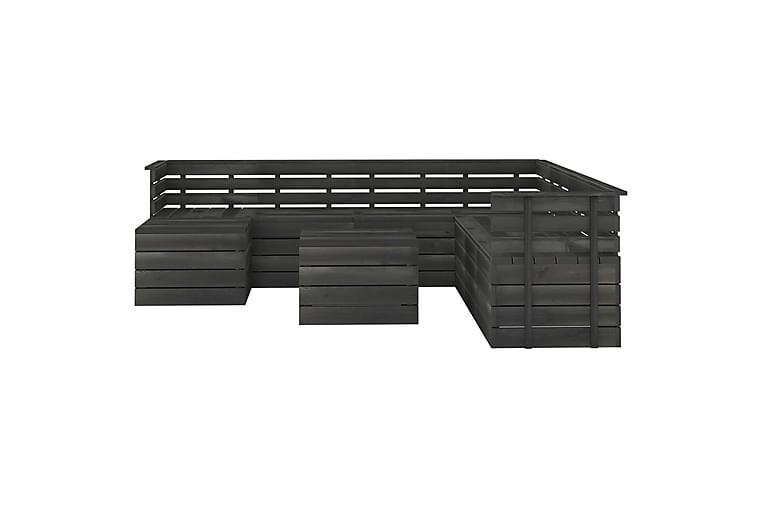 Hagemøbelsett 9 deler paller heltre furu mørkegrå - Grå - Hagemøbler - Loungemøbler - Loungegrupper