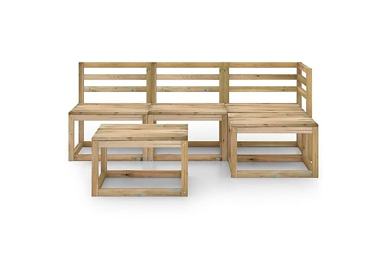 Hagesofagruppe 5 stk grønnimpregnert furu - Brun - Hagemøbler - Loungemøbler - Loungegrupper
