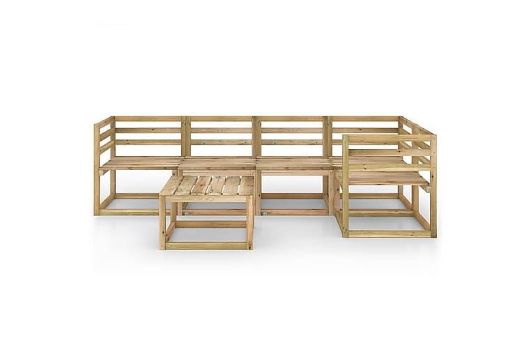 Hagesofagruppe 6 stk grønnimpregnert furu - Brun - Hagemøbler - Loungemøbler - Loungegrupper