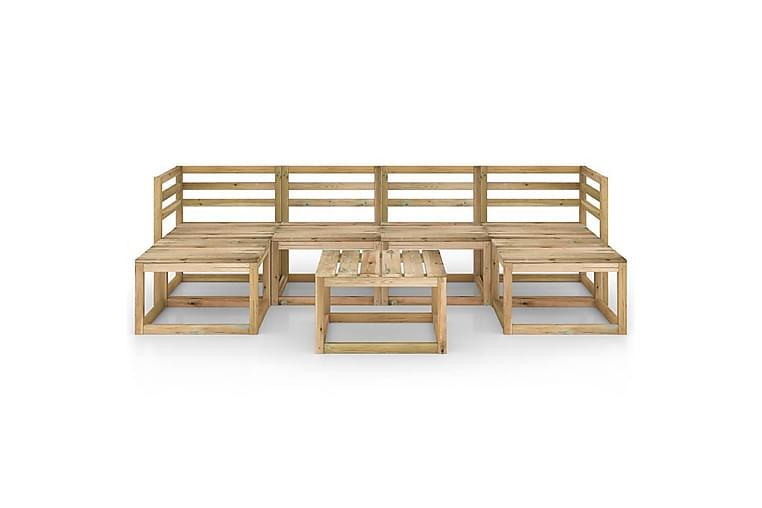 Hagesofagruppe 7 stk grønnimpregnert furu - Brun - Hagemøbler - Loungemøbler - Loungegrupper