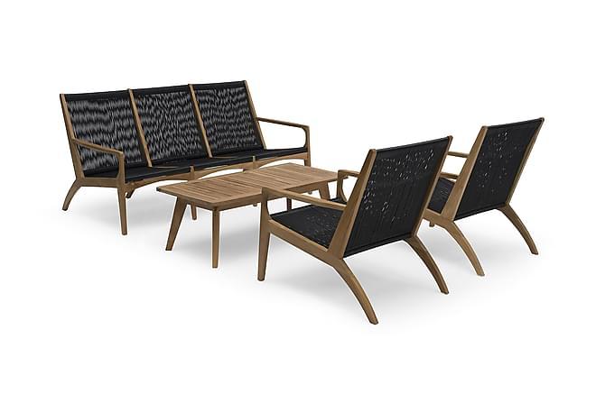 Hillerstorp Ardernäs Sofagruppe m Bord+Sofa+2 Lenestoler - Brun/Svart - Hagemøbler - Loungemøbler - Loungegrupper