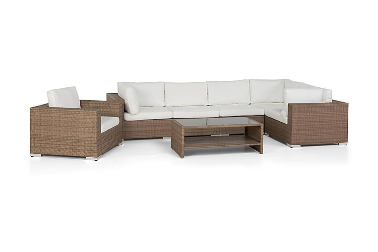 Loungegruppe Bahamas 6 Pers Bord m Hylle - Lenestol Sand - Hagemøbler - Loungemøbler - Loungegrupper
